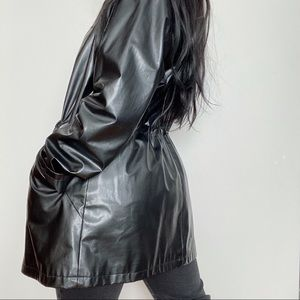 H&Y FASHION Faux Leather Trench Coat - Size (M)